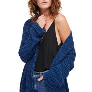 Free People Cardigan Sweater I'll Be Around Silk Mix Blue Open Weave